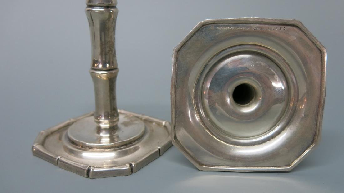 PAIR TIFFANY & CO STERLING SILVER CANDLESTICKS - 2