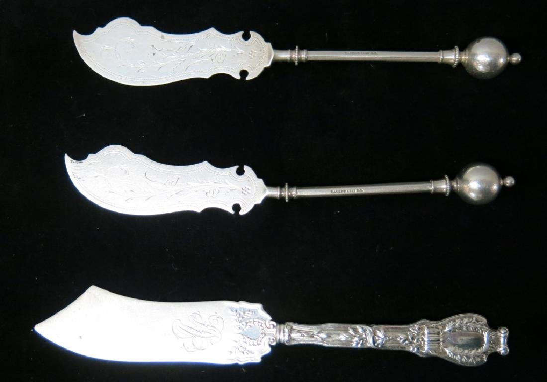 PAIR LATE 19TH C. STERLING SILVER FISH KNIVES