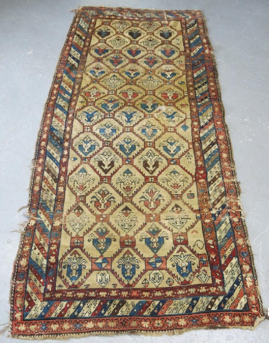 ANTIQUE PERSIAN RUNNER WITH CAMEL GROUND