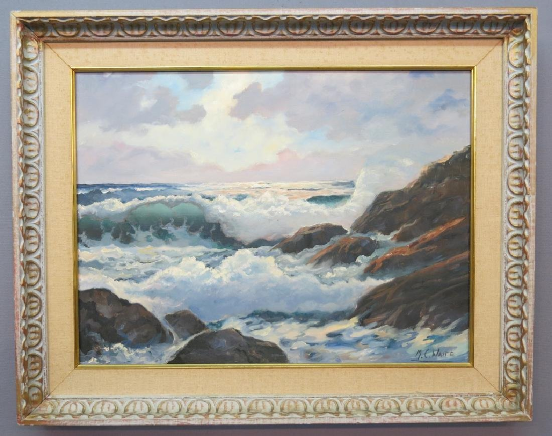 MALCOLM C. WAITE OIL PAINTING OF DRAMATIC SURF