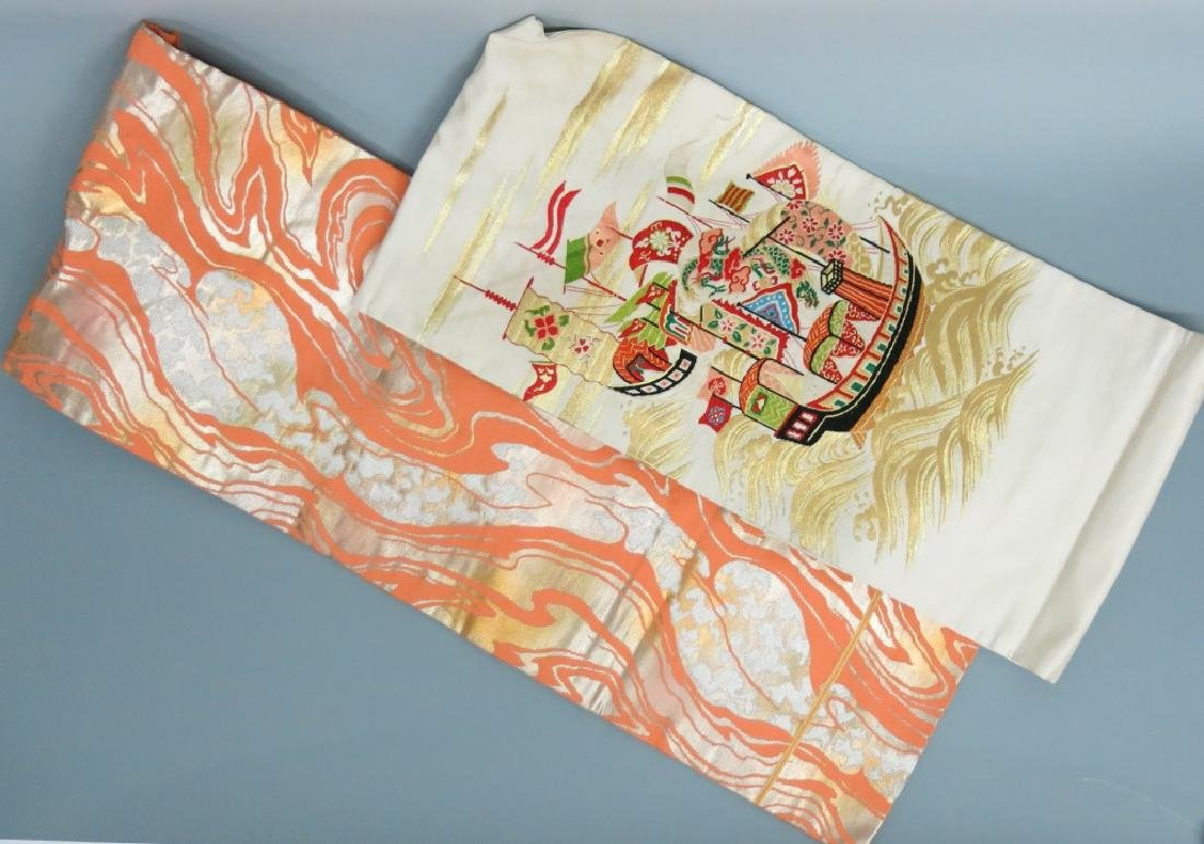 TWO JAPANESE SILK BROCADE OBIS