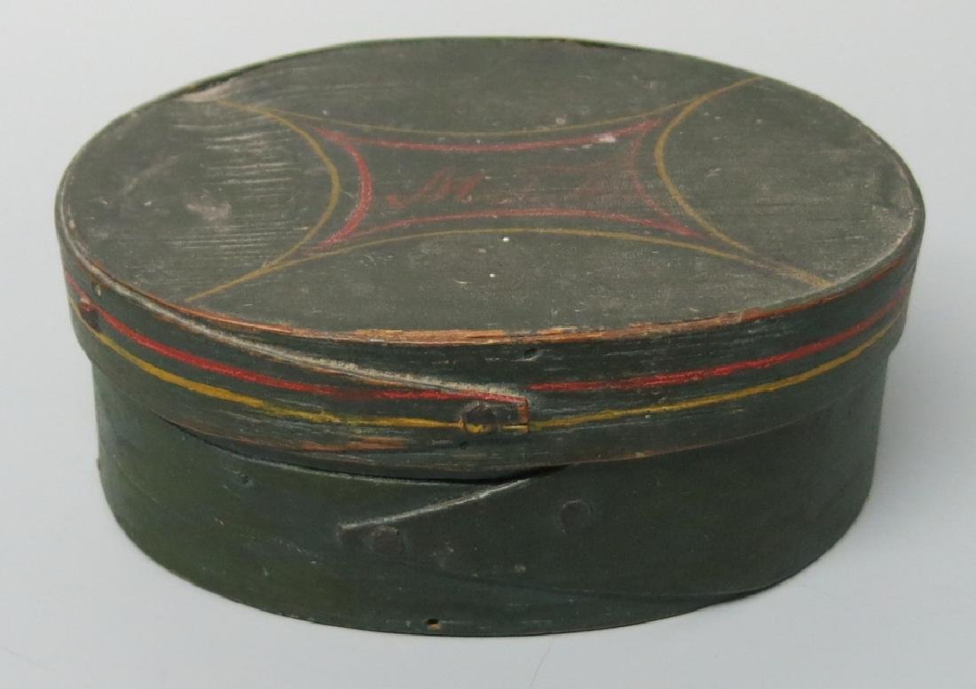 SMALL OVAL FINGER-LAPPED DITTY BOX - PAINT DECORAT
