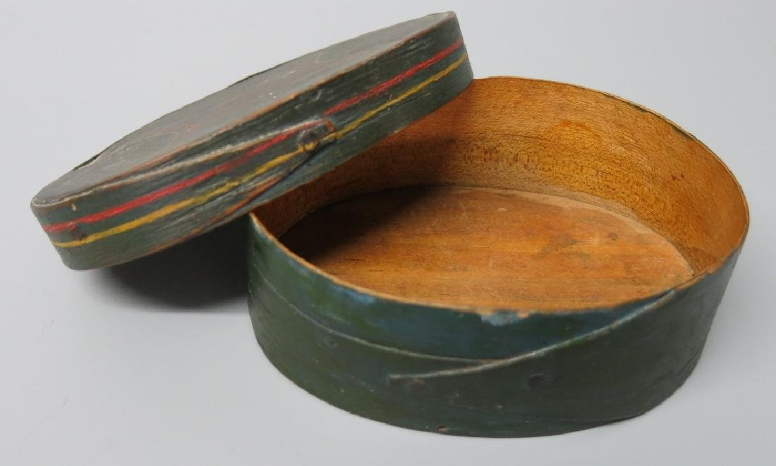 SMALL OVAL FINGER-LAPPED DITTY BOX - PAINT DECORAT - 3