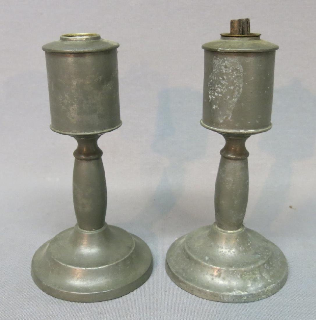PAIR OF RUFUS DUNHAM PEWTER OIL LAMPS