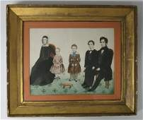 EARLY AMERICAN WATERCOLOR PORTRAIT OF A FAMILY
