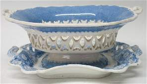 TWO PIECES OF RETICULATED BLUE STAFFORDSHIRE