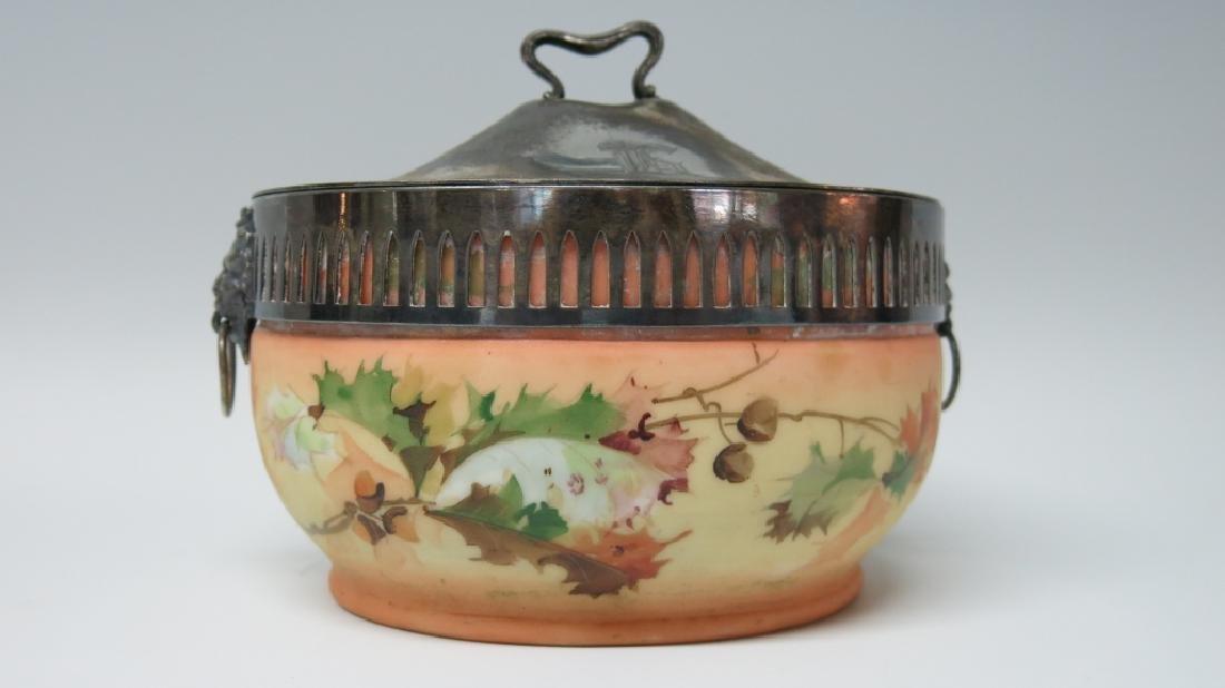 MT. WASHINGTON TYPE ART GLASS BISCUIT JAR
