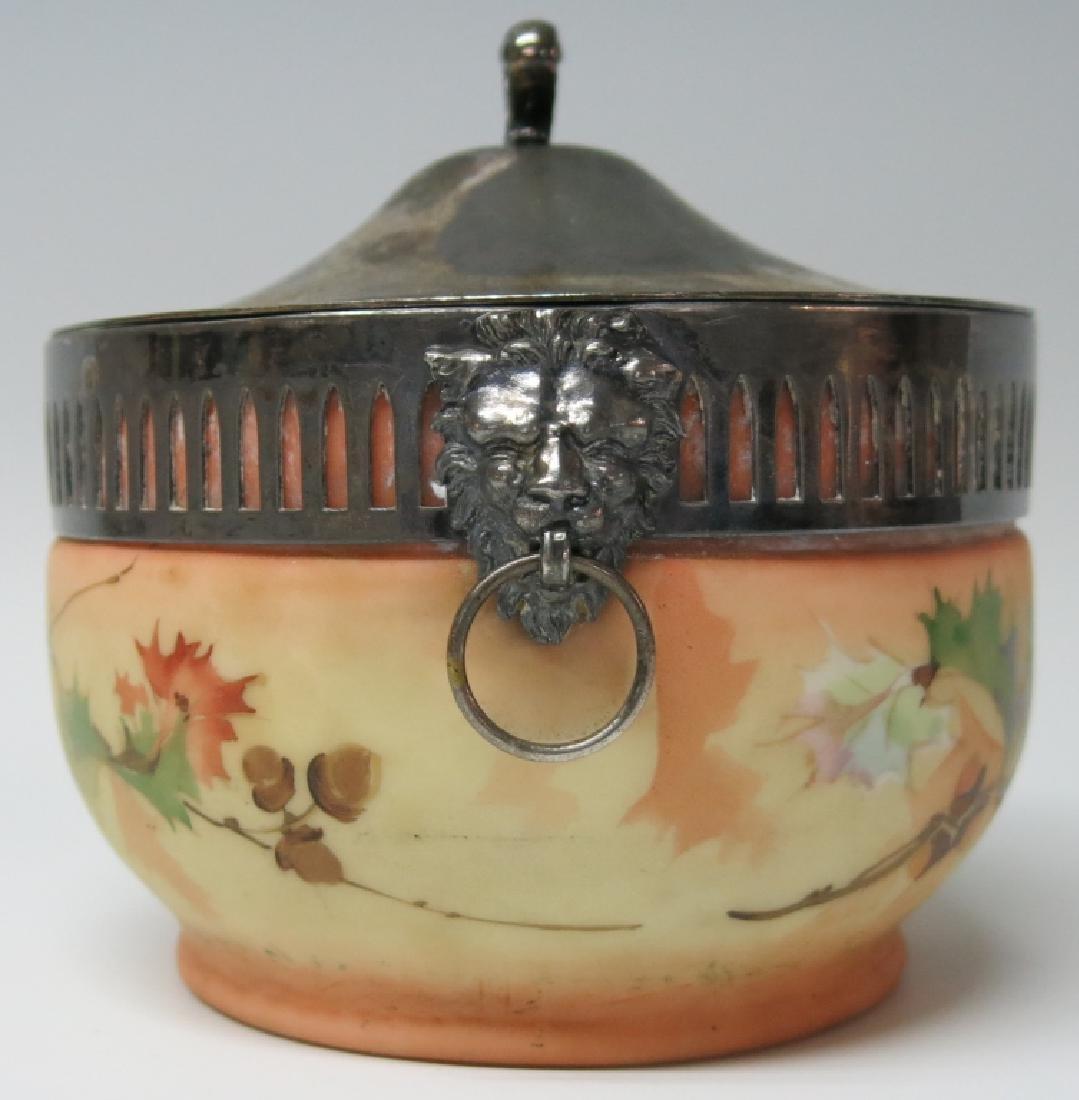 MT. WASHINGTON TYPE ART GLASS BISCUIT JAR - 2