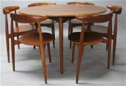FRITZ HANSEN DINING TABLE AND SIX CHAIRS