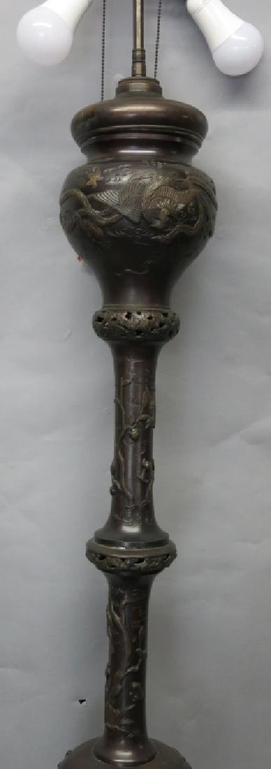 CHINESE BRONZE FLOOR LAMP - 4