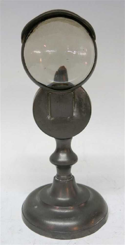 early pewter double lens bullseye lamp