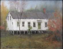 WILLIAM R. DAVIS PAINTING OF A RUSTIC VERMONT HOME