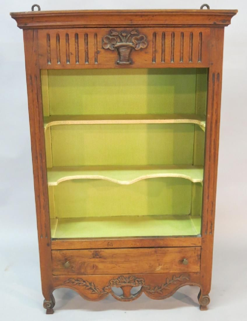 19TH C. FRENCH HANGING CURIO CABINET
