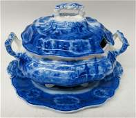 STAFFORDSHIRE FLOW BLUE SOUP TUREEN AND TRAY