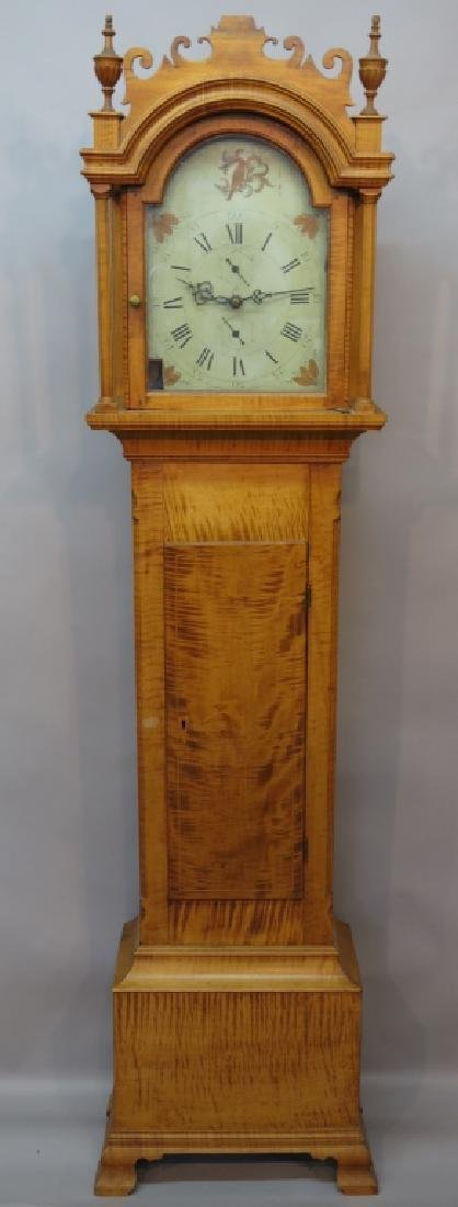 EARLY TIGER MAPLE TALL CLOCK WITH WOODEN GEARWORKS