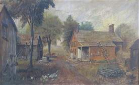 AMERICAN SCHOOL OIL ON CANVAS OF A FARM SCENE