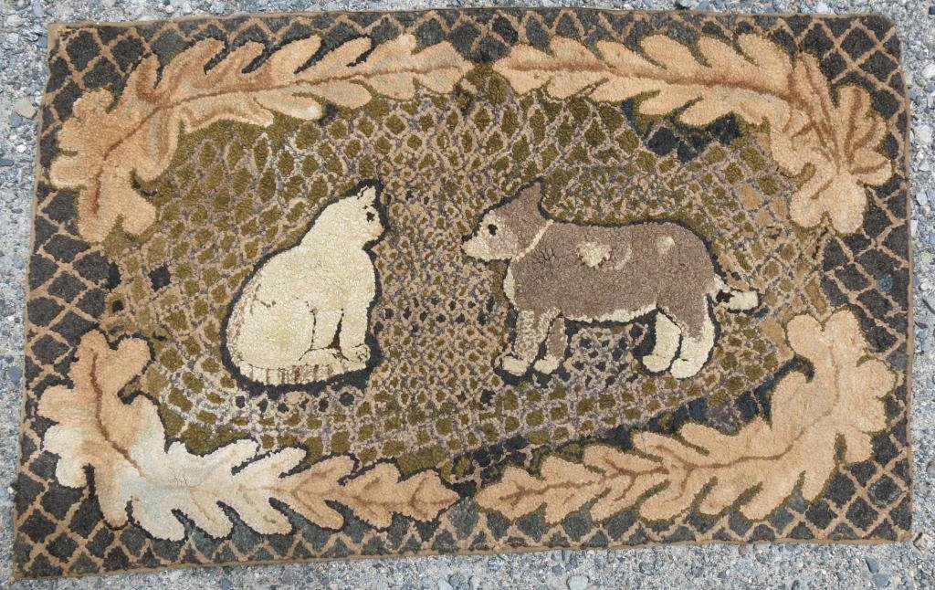 19TH C. FOLK ART HOOKED RUG WITH CAT AND DOG