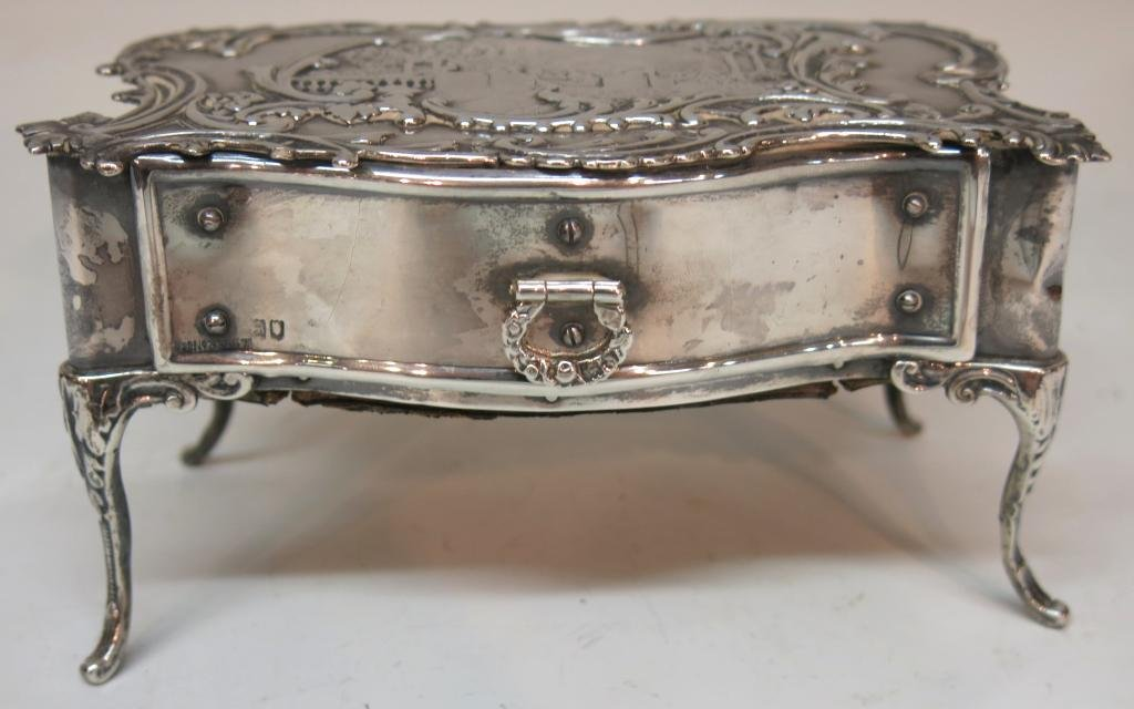 ENGLISH SILVER JEWELRY BOX MODELED AS A DESK