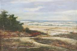 DUDLEY MORRIS OIL PAINTING OF A BEACH SCENE