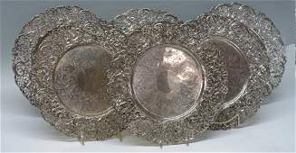SIX ORNATE STERLING SILVER RETICULATED CHARGERS
