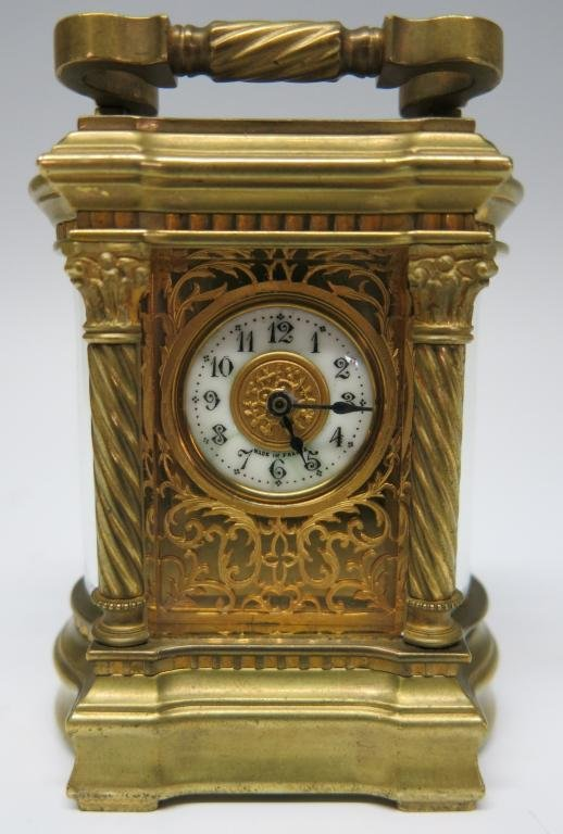 MINIATURE ORNATE  FRENCH BRONZE CARRIAGE CLOCK