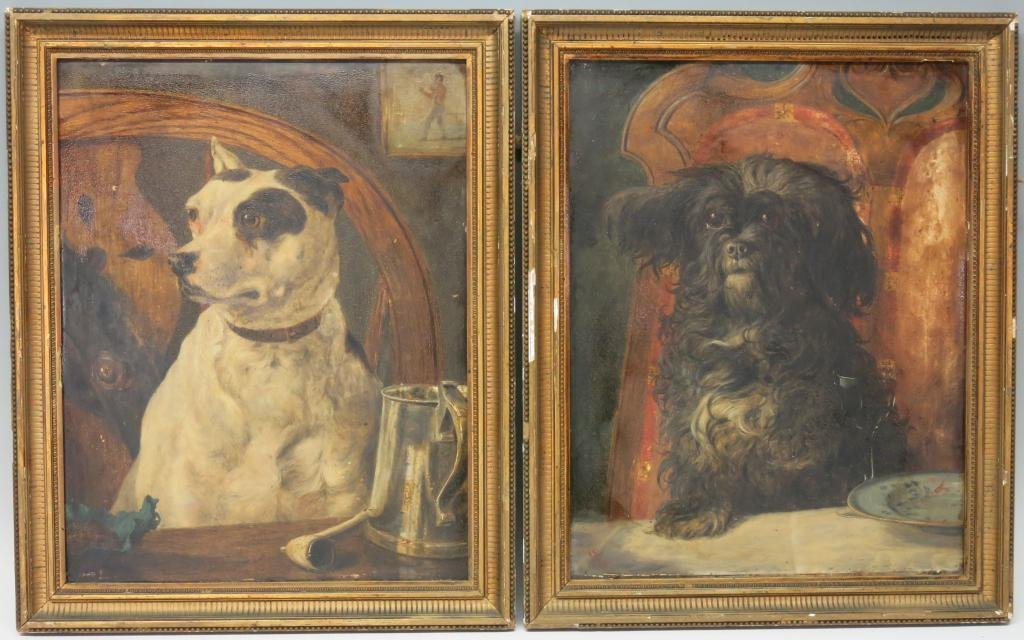 PAIR OF 19TH C. OIL PORTRAITS OF PET DOGS