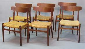 SET OF SIX HANS WEGNER DESIGNED TEAK DINING CHAIRS
