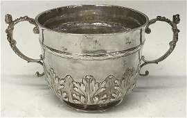 CHARLES II  SILVER CAUDLE CUP, LONDON 1679