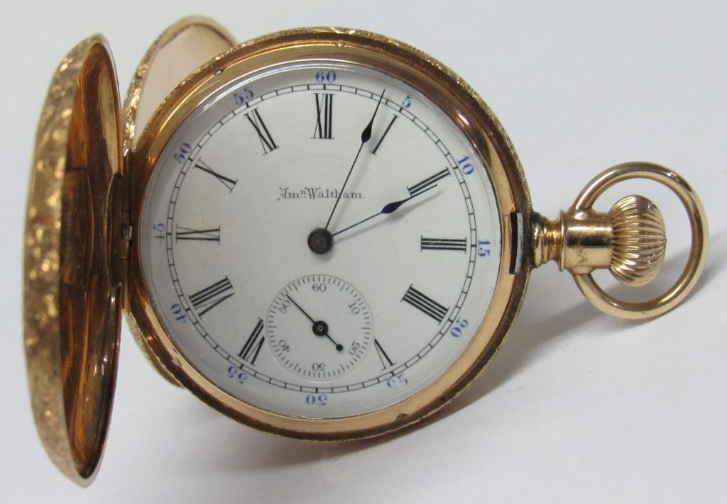 LADIES 14K GOLD POCKET WATCH BY WALTHAM