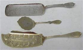 THREE ANTIQUE STERLING SILVER SERVING PIECES