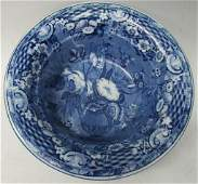 MEDIUM BLUE STAFFORDSHIRE TRANSFERWARE FRUIT BOWL