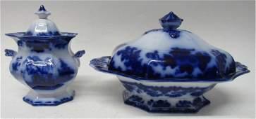 TWO FLOW BLUE TRANSFERWARE 'SCINDE' SERVING PIECES