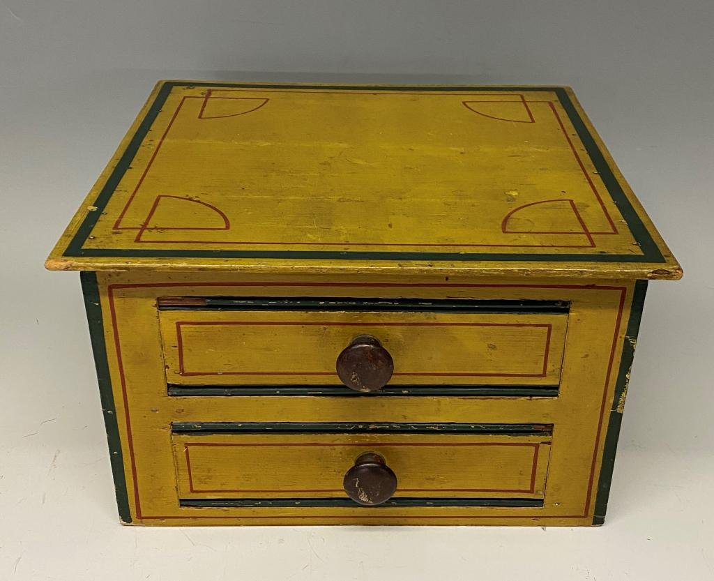 19TH C. PAINTED PINE TABLE TOP 2-DRAWER CHEST