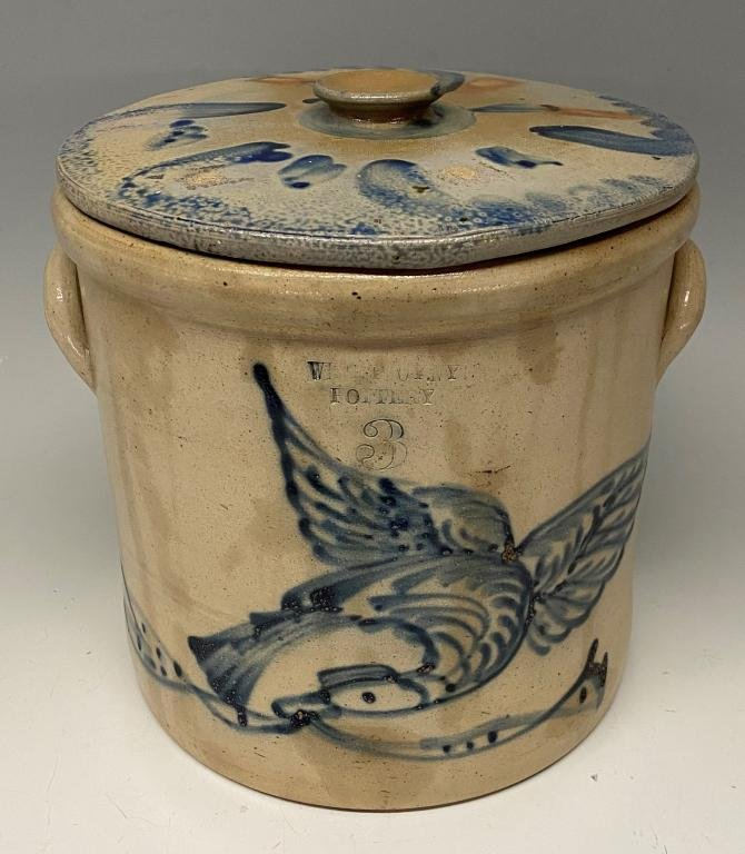 EAGLE AND BANNER DECORATED STONEWARE COVERED CROCK