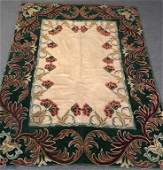 UNUSUALLY LARGE EARLY AMERICAN HOOKED RUG