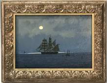 "WILLIAM R. DAVIS OIL PAINTING SKETCH ""MOONLIGHT"""