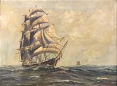 G. VAN ROSEN OIL PAINTING OF A CLIPPER SHIP