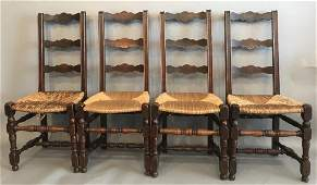 SET OF FOUR PROVINCIAL FRENCH LADDERBACK CHAIRS