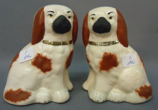 "1: PAIR OF STAFFORDSHIRE SPANIEL FIGURINES -- 4"" TALL"