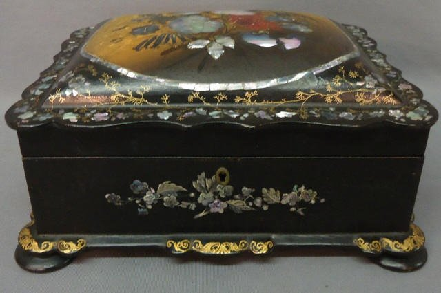9: VICTORIAN PAPER MACHE LADIES WORK BOX WITH M.O.P.