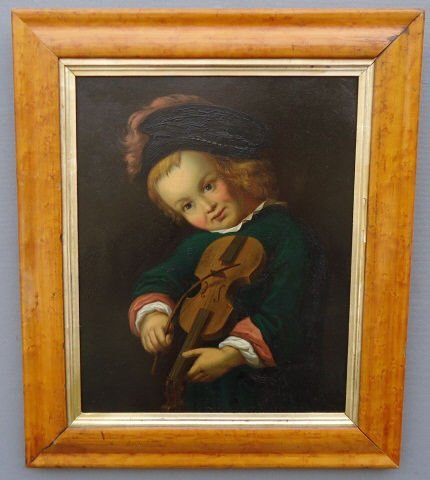 12: OIL PAINTING ON TIN PANEL PORTRAIT OF A YOUNG BOY