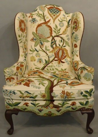 21: QUEEN ANNE STYLE WING CHAIR WITH CREWEL EMBROIDERY