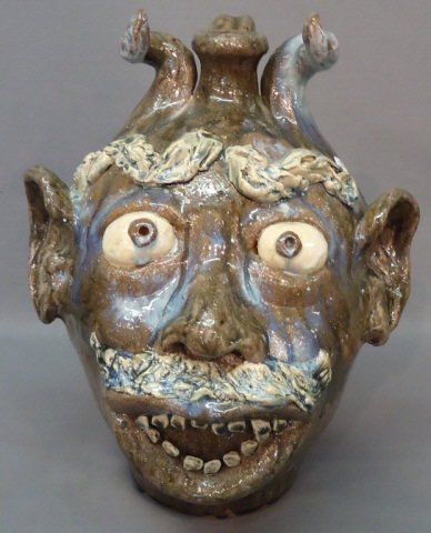 "26: W.A. FLOWERS, N.C. POTTERY FACE JUG 16 1/2"" TALL"