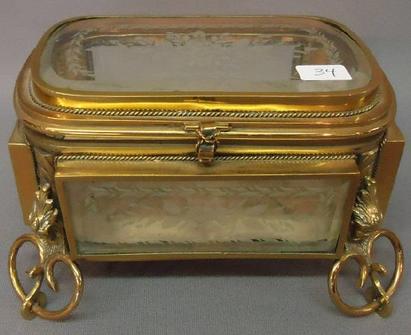34: ORNATE BRASS JEWEL CHEST WITH ETCHED GLASS PANELS
