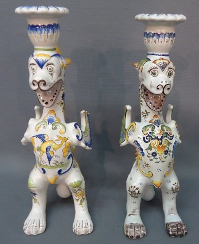 35: PR. FRENCH FAIENCE CANDLESTICKS