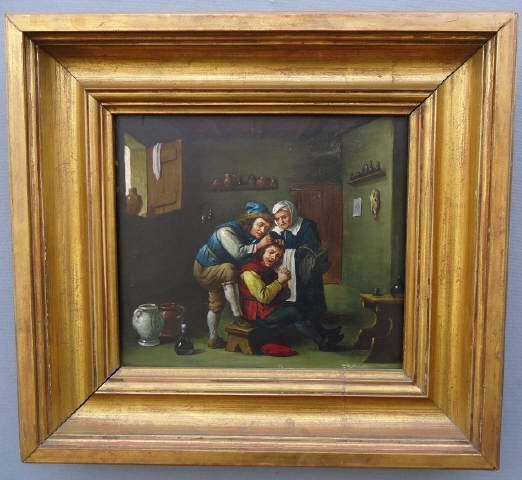 36: EUROPEAN OIL PAINTING ON WOOD PANEL GENRE DEPICTION