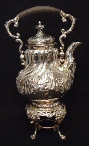 39: PORTUGUESE/BRAZIL HALLMARKED SILVER TEAPOT ON STAND