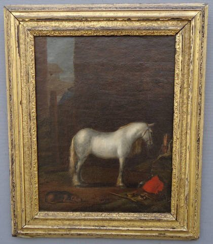 60: 19TH C. OIL PAINTING ON CANVAS OF A WHITE HORSE