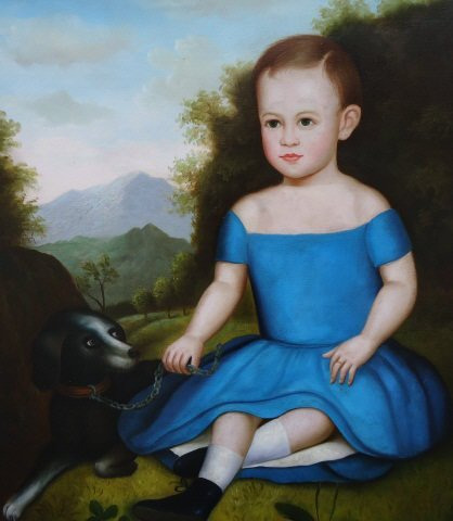 64: DECORATIVE OIL PORTRAIT ON CANVAS OF A YOUNG BOY