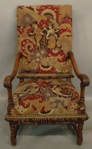 67: WILLIAM & MARY STYLE CARVED WALNUT ARMCHAIR